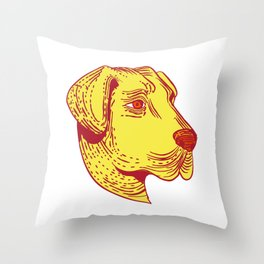 Anatolian Shepherd Dog Head Etching Color Throw Pillow