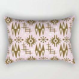Mid Century Modern Atomic Space Age Pattern Pink Brown Rectangular Pillow