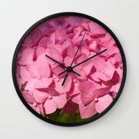 hydrangea Wall Clocks featuring Hydrangea by Susann Mielke