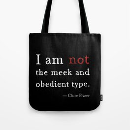 Outlander Claire Fraser Red Dress Not Obedient Quote Watercolor on Black Tote Bag