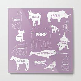 Animal Noises 2 (Lavender) Metal Print