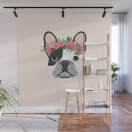 French Bulldog dog breed floral crown frenchies lover pure breed gifts Wall Mural