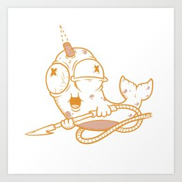 Neville the AWOL Narwhal Art Print