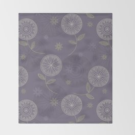 Folky Lace Flowers Throw Blanket