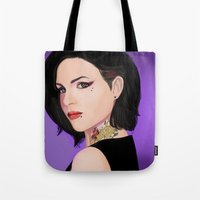 regina mills Tote Bags featuring Fierce Regina Mills. by tantoun