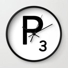 Letter P - Custom Scrabble Letter Tile Art - Scrabble P Initial Wall Clock