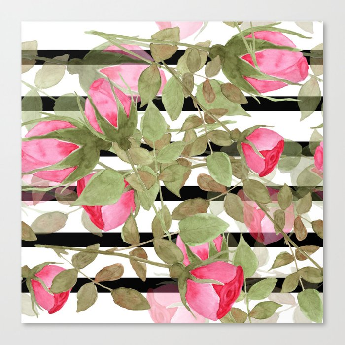 Watercolor . Buds of roses on a striped black and white background Canvas Print