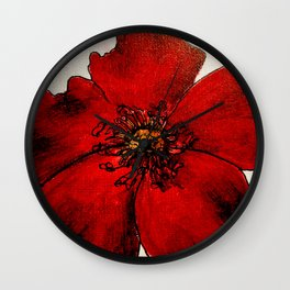 Red Winter Rose Wall Clock