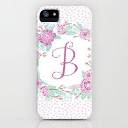Monogram B - cute girls purple florals flower wreath, lilac florals, baby girl, baby blanket iPhone Case
