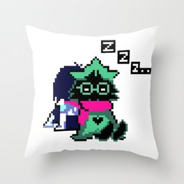Ralsei and Kris Delta Rune Throw Pillow