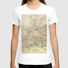 Old and Vintage Map of Germany Outline T-shirt