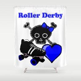 Roller Derby Heart (Blue) Shower Curtain