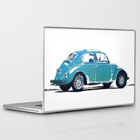 volkswagon Laptop & iPad Skins featuring Blue VW Bug by Regan's World
