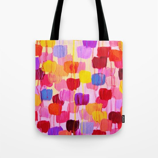 DOTTY in Pink - October Special Revisited Bold Colorful Square Polka Dots Original Abstract Painting Tote Bag
