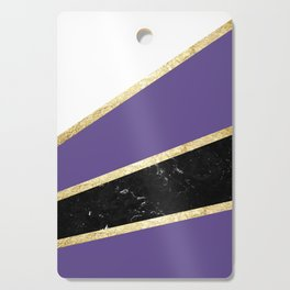 Ultra Violet, White, Black Marble and Gold Stripes Glam #1 #minimal #decor #art #society6 Cutting Board