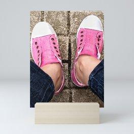 Pink sneakers. Mini Art Print