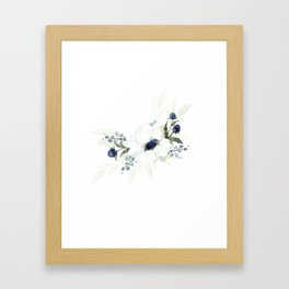 Watercolor Anemone and Thistle Framed Art Print