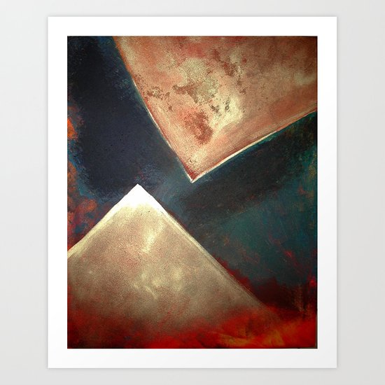 Golden Triangles Modern Abstract Art Painting by fineartgallery