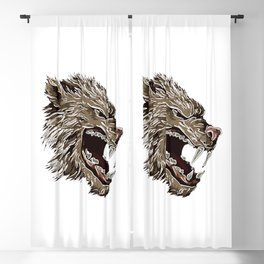 Head with fangs,white lines,stylize Blackout Curtain