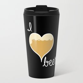 I love Beer white text Travel Mug