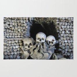 Ossuary (Bones and skulls in the Cemetery Church of All Saints) Rug