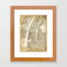 map of new york 1800s Framed Art Print
