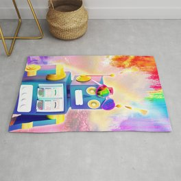 Rainbow Robot Wearing Love Heart Glasses Rug