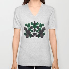 Dark Green & Black Inkblot Diagram Unisex V-Neck