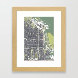 Buenos aires city map engraving Framed Art Print