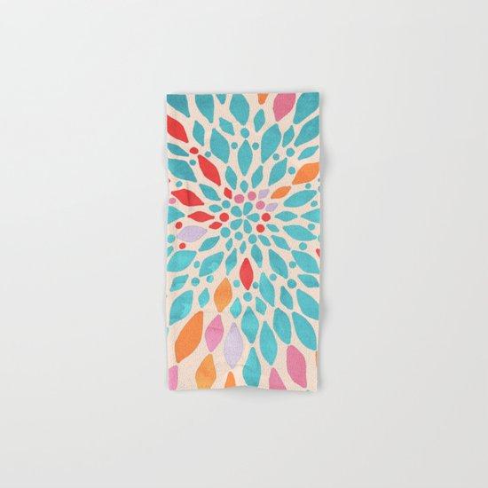 Radiant Dahlia - teal, orange, coral, pink watercolor pattern Hand & Bath Towel