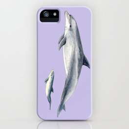Bottlenose dolphin purple background iPhone Case