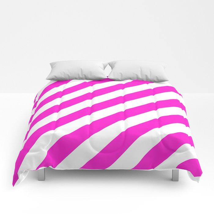 Diagonal Stripes (Hot Magenta/White) Comforters