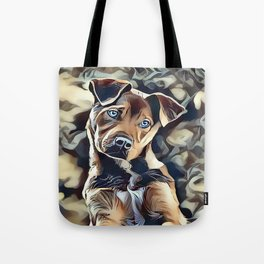 The Blue Eyed Pit bull Puppy Tote Bag