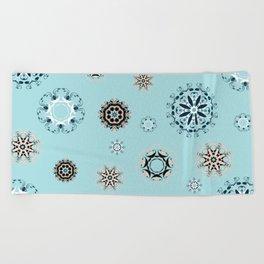 Blue Mandala, Pattern, Digital Design, Shapes Beach Towel
