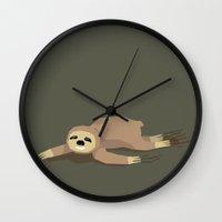 sloth Wall Clocks featuring sloth by parisian samurai studio