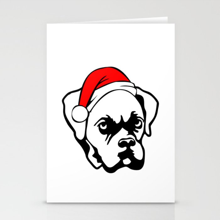 Boxer Dog with Christmas Santa Hat Stationery Cards
