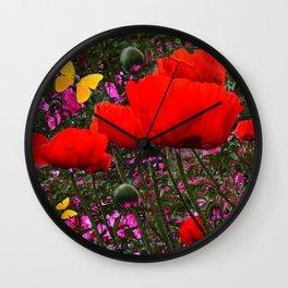 ORANGE ORIENTAL POPPIES & YELLOW BUTTERFLIES Wall Clock