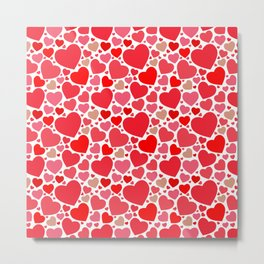 Red Hearts Pattern 2 Metal Print