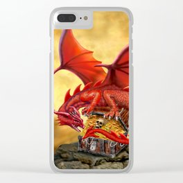 Red Dragon's Treasure Chest Clear iPhone Case
