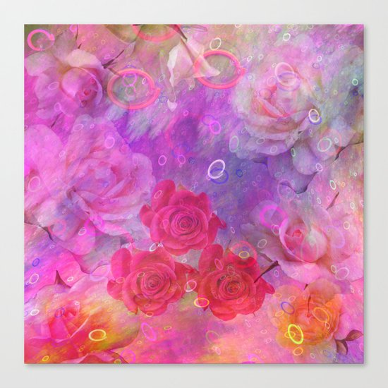 Dream Roses in soft pink, purple and orange Canvas Print