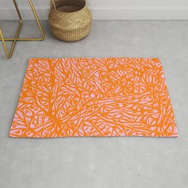 Summer Orange Saffron - Abstract Botanical Nature Rug