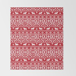 Border Collie fair isle christmas red and white holiday sweater dog breed gifts Throw Blanket