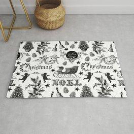 Black And White Nostalgic Christmas Pattern   Rug