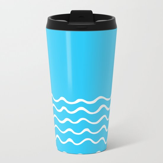 Simple aqua and white handrawn waves 1 - for your summer on #Society6 Metal Travel Mug