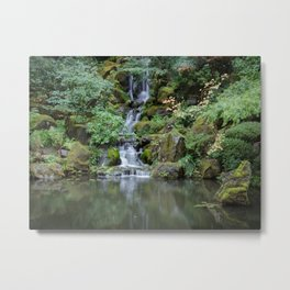 Portland Japanese Garden Waterfall Metal Print