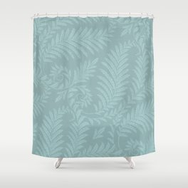 Fancy Light Blue Leaves Scroll Damask on Dark Turquoise Shower Curtain