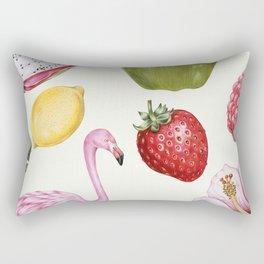 Tropical Flamingo & Fruit Rectangular Pillow