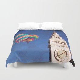 Embarcadero Clock Tower and Hot air Balloons Duvet Cover