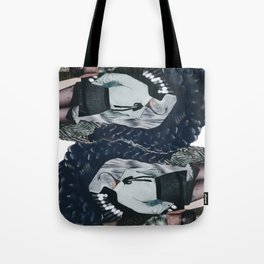 She was all mixed up - a modern, black and white collage by jules tillman Tote Bag