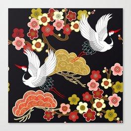 Japanese bird pattern Canvas Print